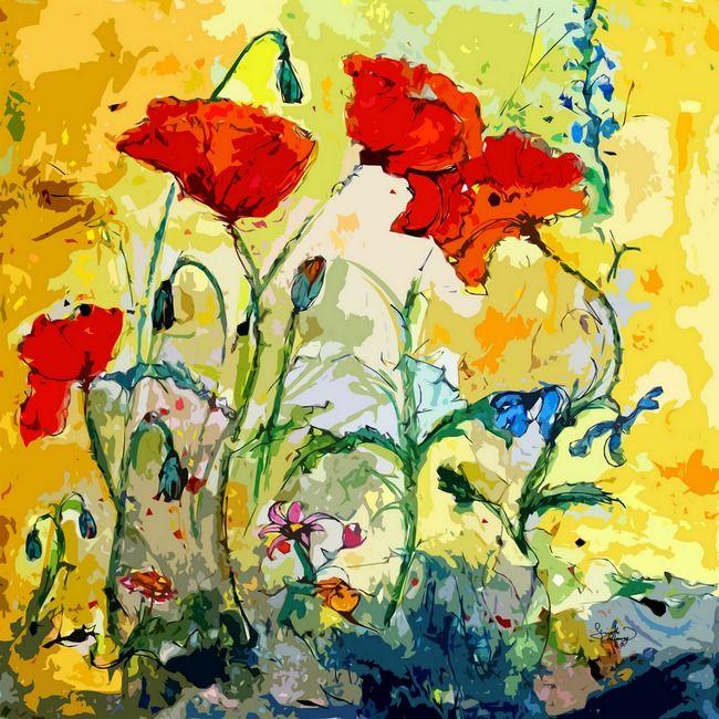 Poppies Provencale Contemporary Decor Mixed Media\