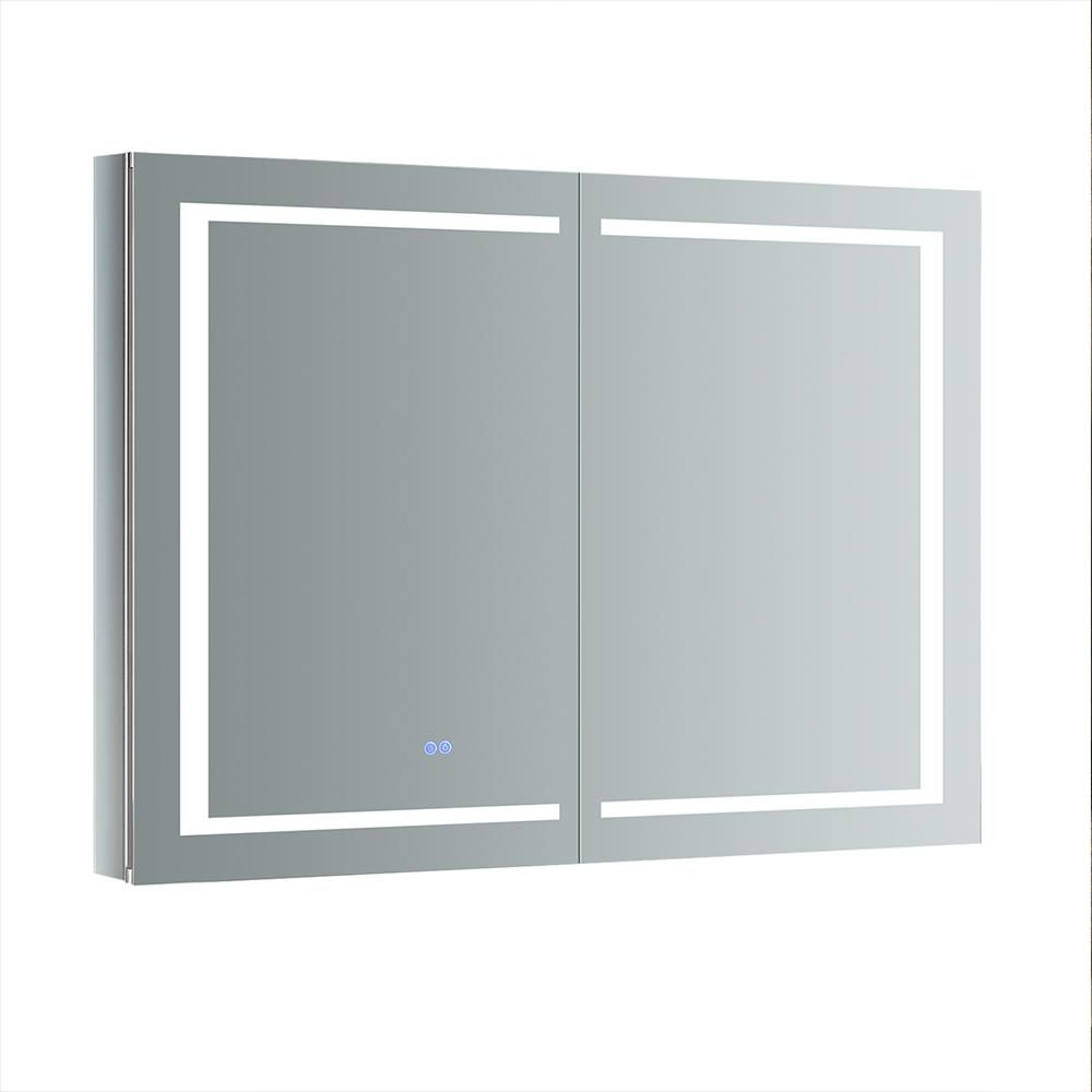 Fresca Spazio 48 In W X 36 In H Recessed Or Surface Mount Medicine Cabinet With Led Lighting And Mirror Defogger Surface Mount Medicine Cabinet Lighted Medicine