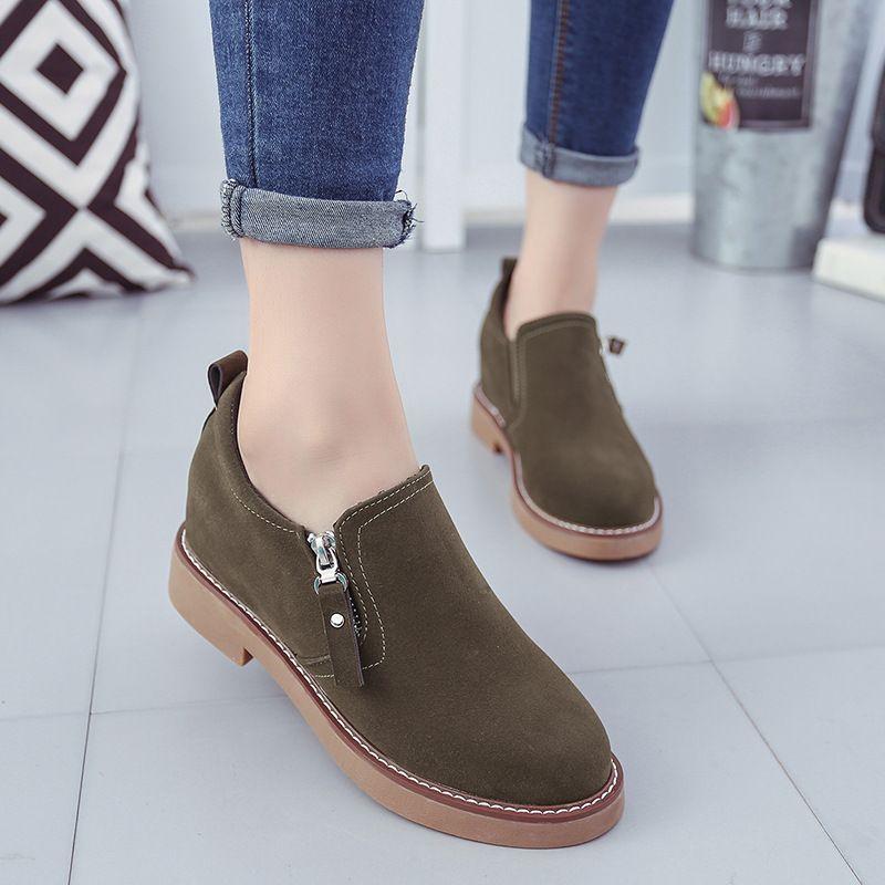 11e91ea1c7ea Brown Green Women Low-top Nubuck Shoes Sewing Zipper Female Mocassin Single  Flats High Quality