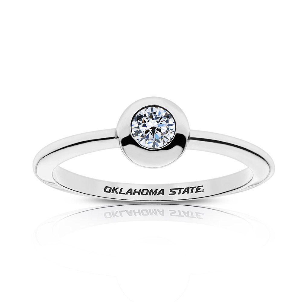 Engagement Rings Okc: Sterling Silver Oklahoma State University Diamond Ring