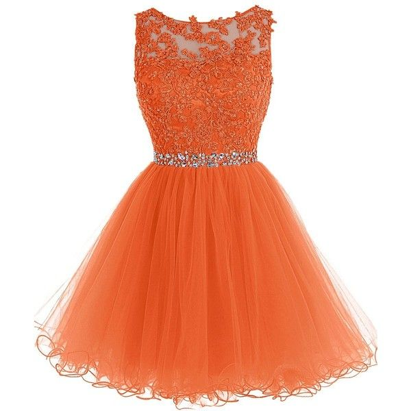 Tideclothes Short Beaded Prom Dress Tulle Applique Evening Dress (310 BRL) ❤ liked on Polyvore featuring dresses, beaded dress, short beaded cocktail dresses, orange dress, short beaded dress and prom dresses