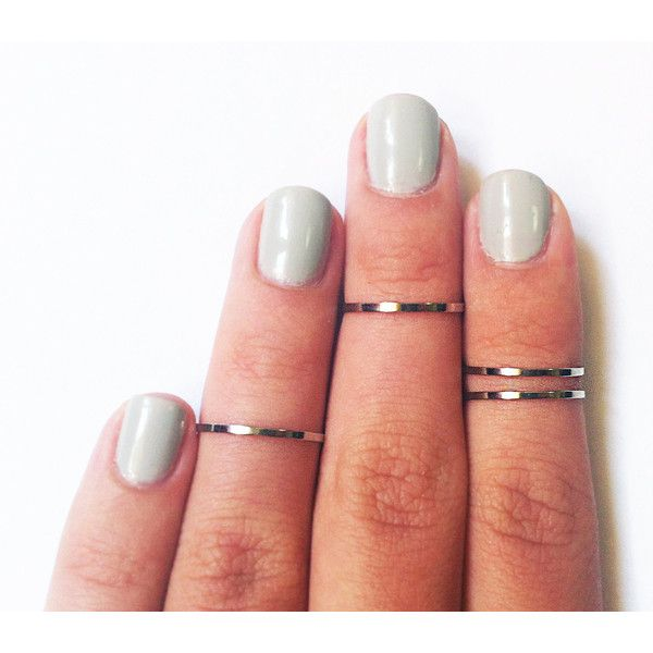 4 Above the Knuckle Rings - Plain Band Knuckle Rings, Chrome Silver... (215 ZAR) ❤ liked on Polyvore featuring jewelry, rings, nails, accessories, fillers, silver midi rings, thin gold ring, silver stackable rings, above-knuckle ring and womens jewellery