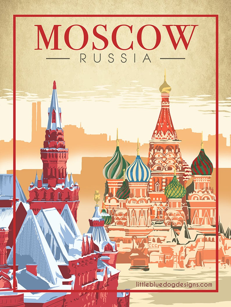 Moscow Russia – Vintage Travel Poster