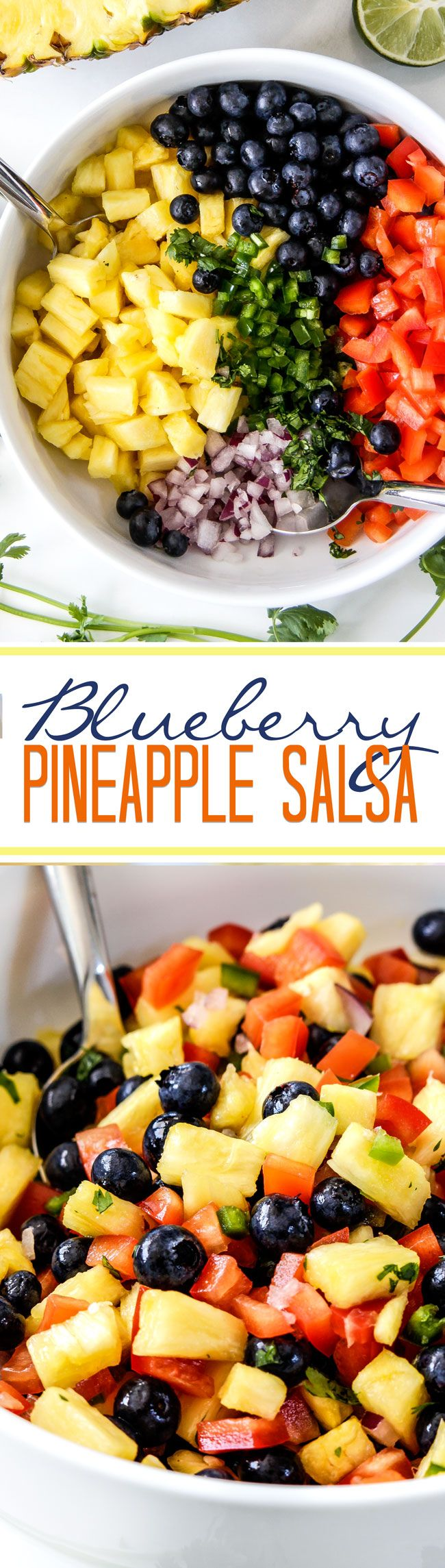 Refreshing sweet, bright Blueberry Pineapple Salsa is addictingly delicious with chips, on chicken, fish, tacos or just a spoon! This easy salsa makes everything better! #salsa #pineapple #blueberry #fruitsalsa #pineapplesalsa