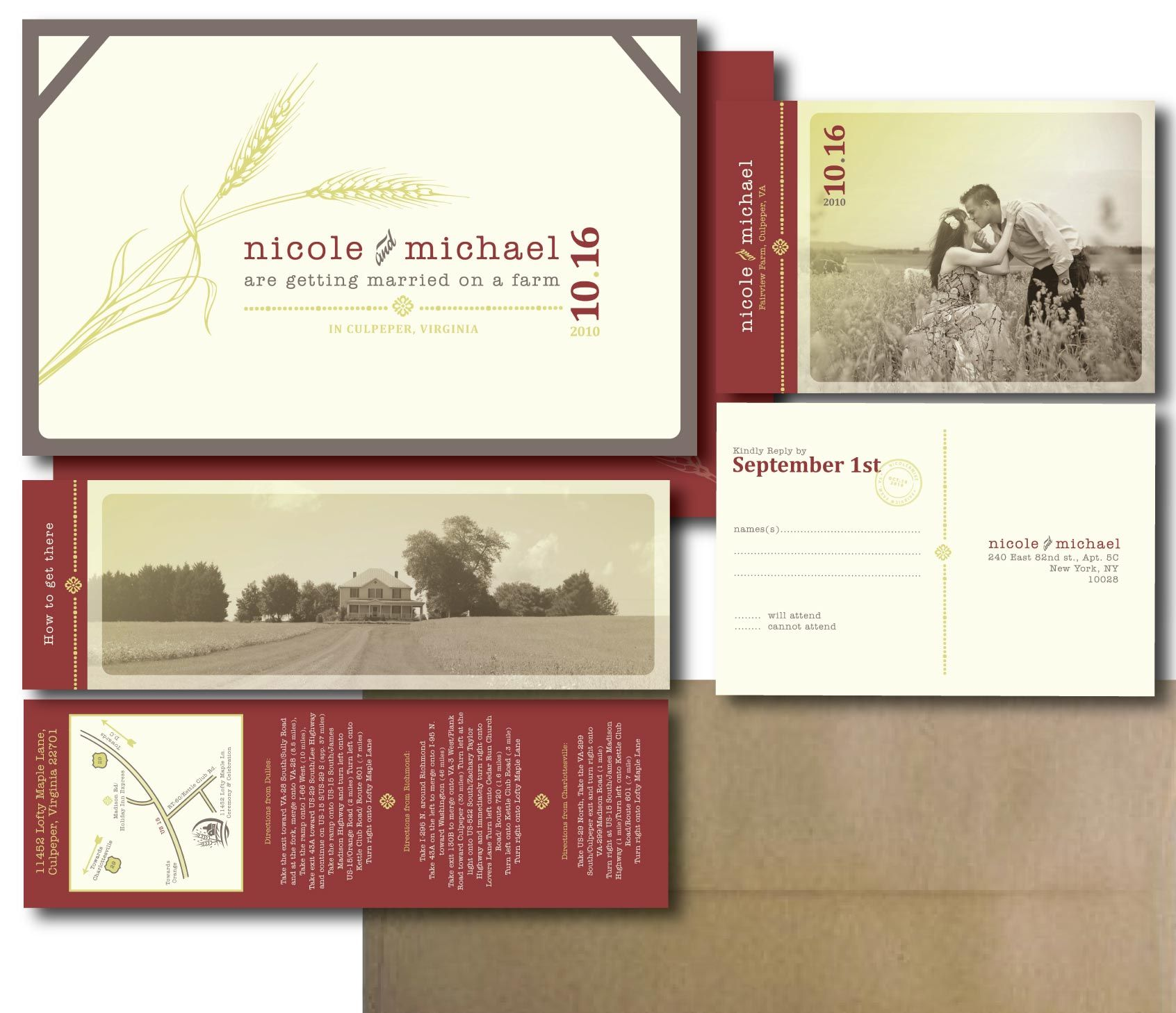 love the whole package look. postcard and directions/farm card is a ...