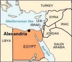 Alexandria, Egypt. Map of Egypt and neighboring countries