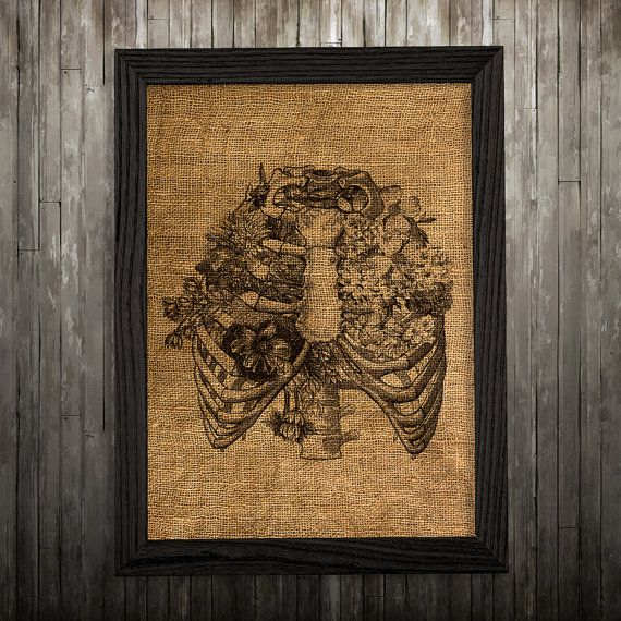 Ribs print. Anatomy poster. Medical decor. Rib cage print.  PLEASE NOTE: this is not actual burlap, this is an art print, the image is printed on