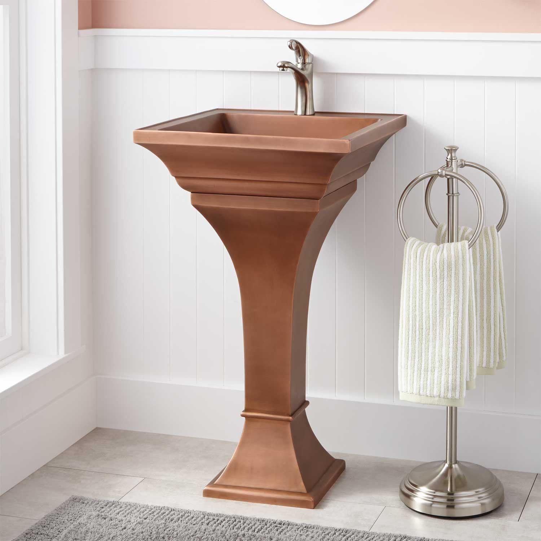 Square Smooth Copper Pedestal Sink Signature Hardware Pedestal Sink Bathroom Pedestal Sink Copper Vessel Sinks