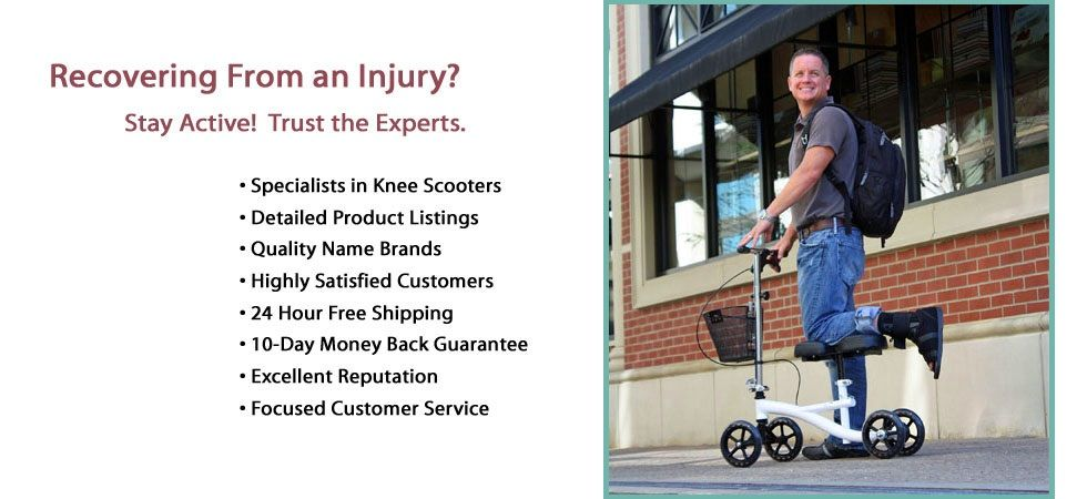 MyKneeScooter.com offers mobility to patients with foot or ankle injuries. Knee scooters are an alternative to crutches which allows the user to maintain mobility during recovery. The user lays the knee of the injured foot safely on the platform and pushes off with the good foot. It is an essential device for anyone who is off their foot for any period of time. You will be shocked at how durable and how simple to use a knee scooter is.