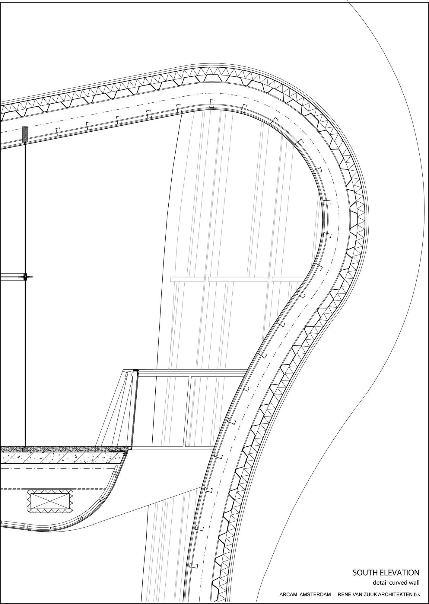 Arcam Rene Van Zuuk Architekten Curved Walls Roof Detail Construction Drawings