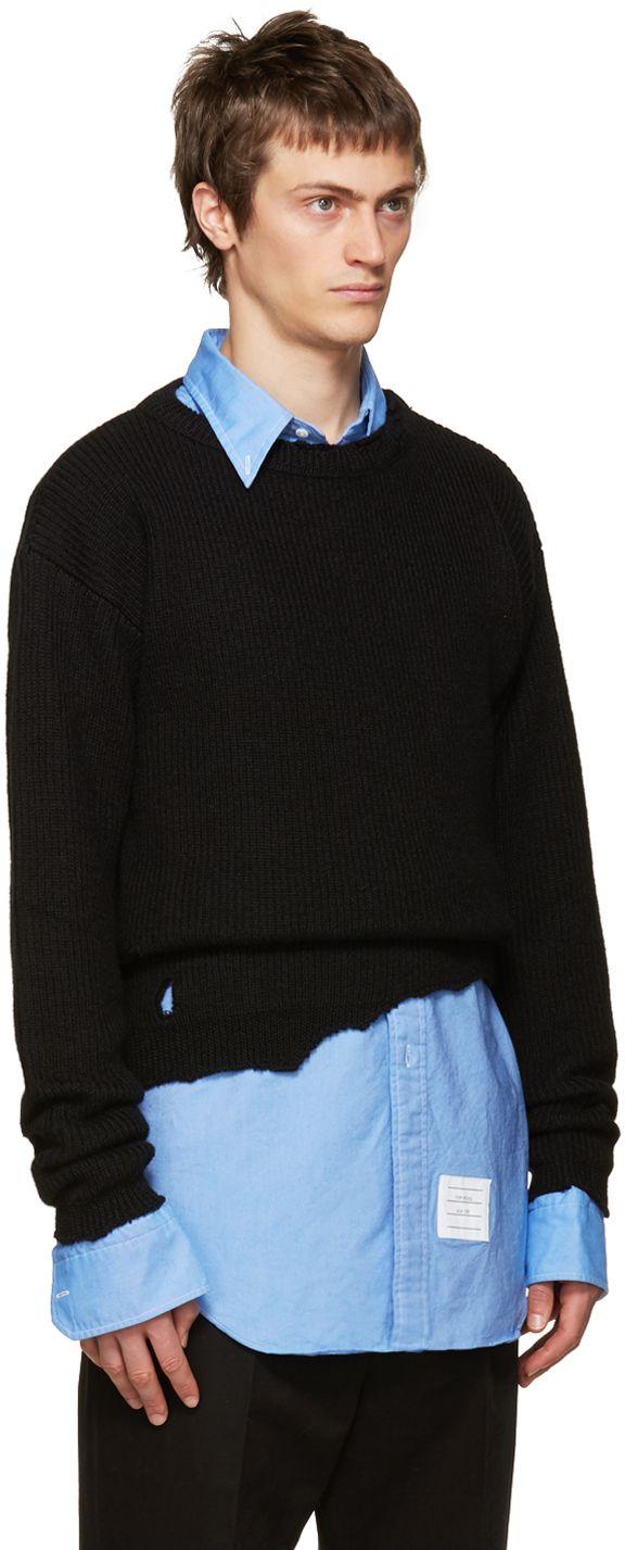 Raf Simons: Black Wool Destroyed Sweater | SSENSE