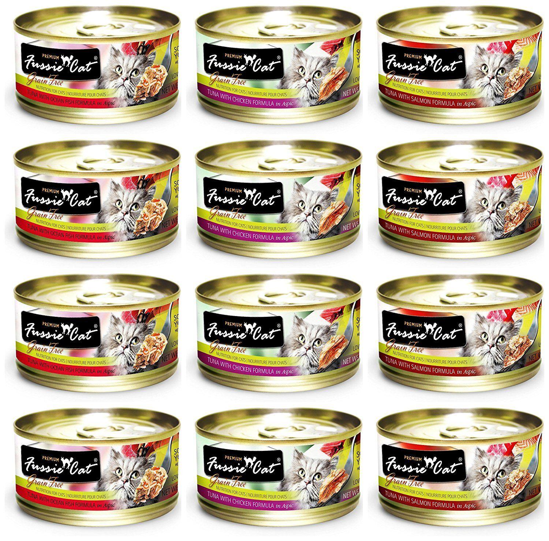 Fussie Cat Premium Grain Free Canned Cat Food 3 Flavor