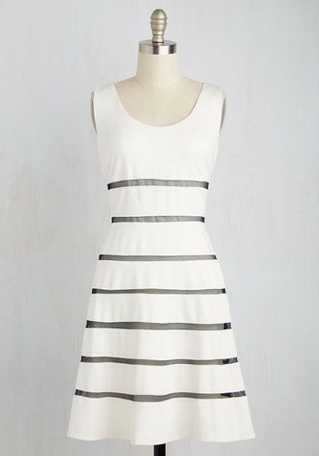 Fame, Set, Match Dress - White, Blue, Stripes, Daytime Party, Beach/Resort, Graduation, Nautical, Fit & Flare, Sleeveless, Spring, Best, Exclusives, Scoop, Mid-length, Knit