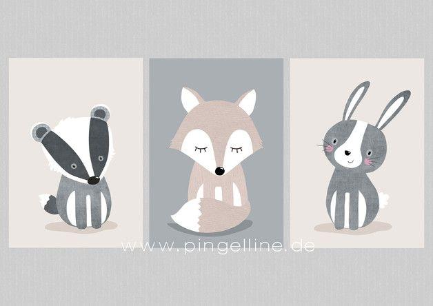 Kinderbilder Set 1 Waldtiere Dachs Fuchs Hase A4  Noahs