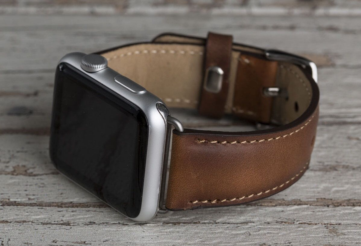 Genuine Brown Leather Apple Watch Band 42mm 38mm 40mm Etsy Apple Watch Bands Leather Apple Watch Leather Apple Watch