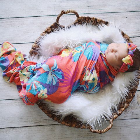 Hula Girl Swaddle Blanket & Headband Set