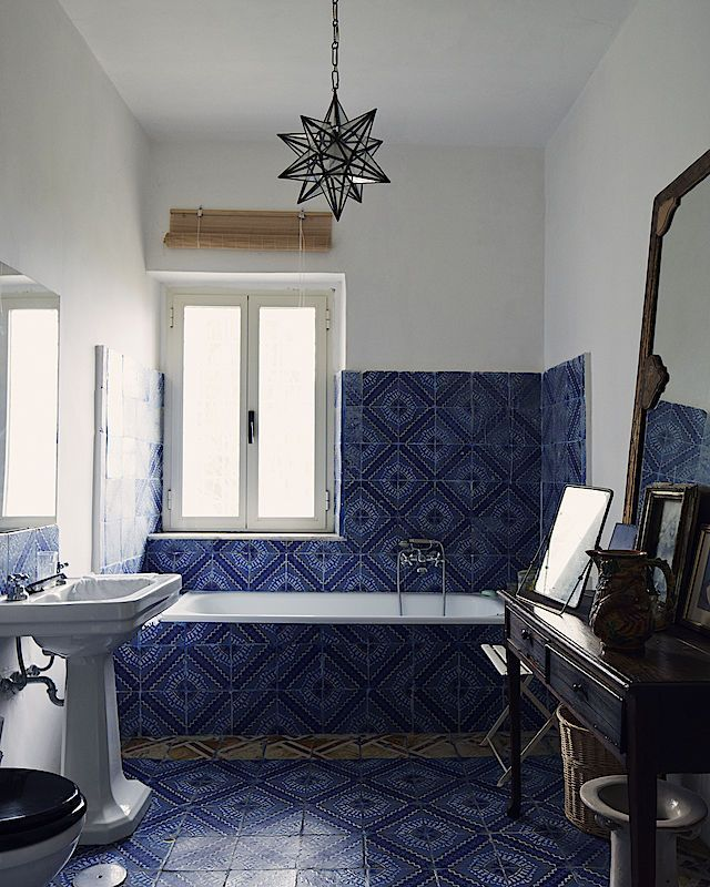 Blue tiled bathroom ideas bath house home indoor design also rh pinterest