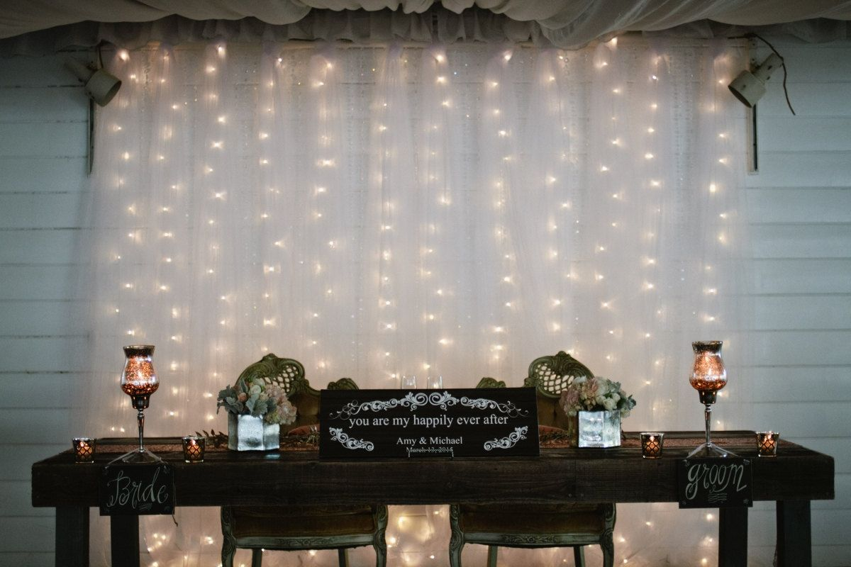 White Tulle Wedding Backdrop With Led Lights By Myweddingbackdrops On Etsy