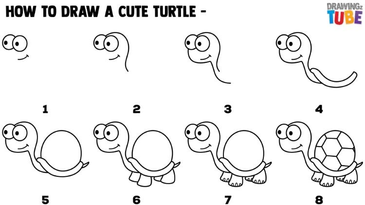 How To Draw Cute Turtle For Kids Step By Step Drawings For Kids