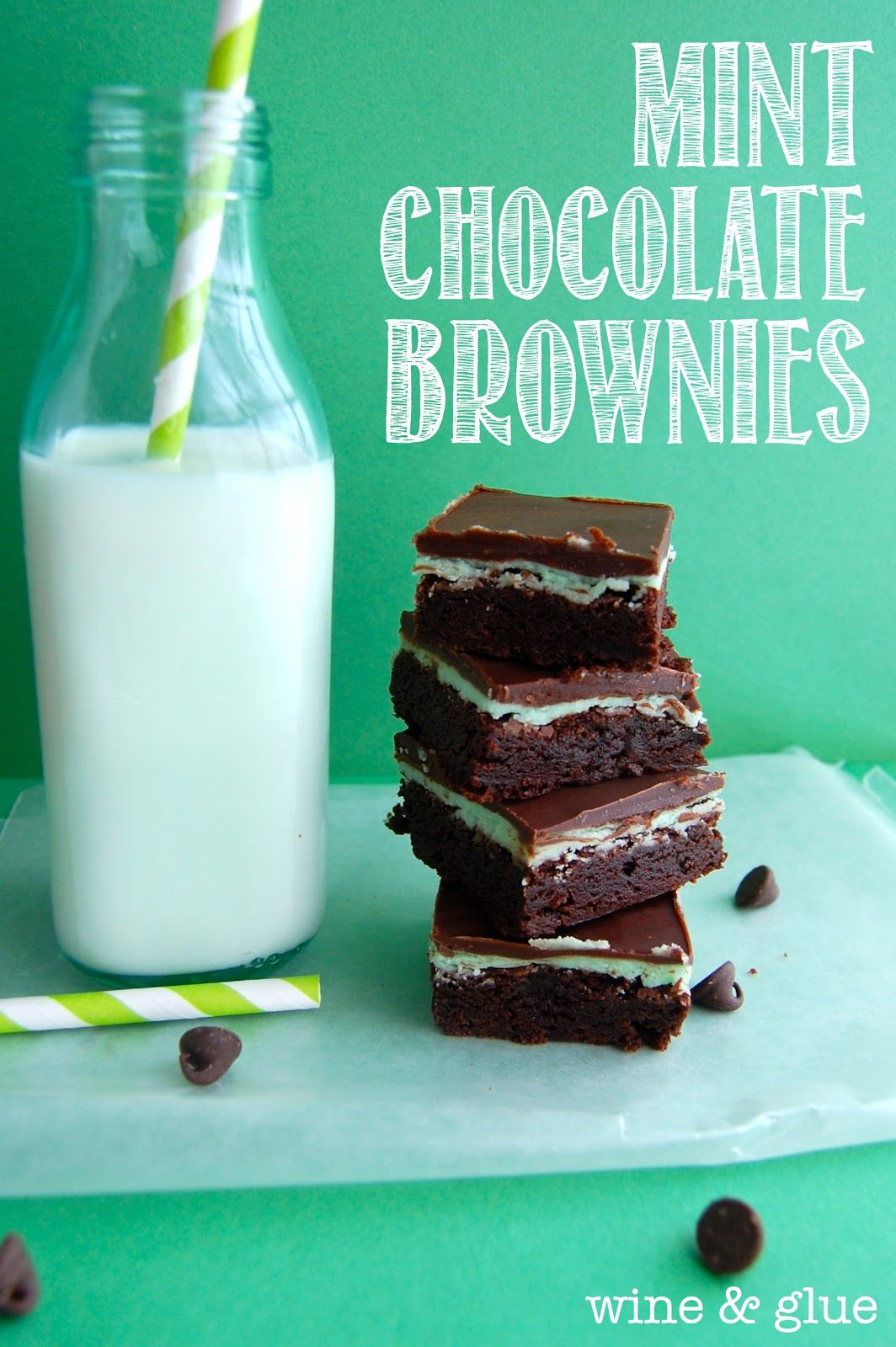 Mint Chocolate Brownies   www.wineandglue.com   Brownies that will be requested over and over!