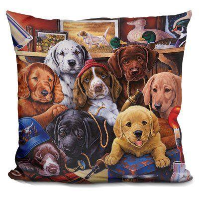 East Urban Home Grandpa Puppies Throw Pillow Art Art