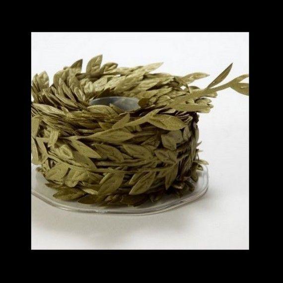 OLIVE GREEN Petite Leaf Ribbon Trim  by cheswickcompany on Etsy, $2.45