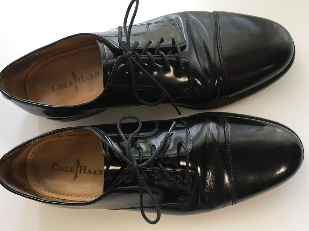 Cole Haan Caldwell Oxford Shiny Black Dress Shoes 08330 Size 11 12