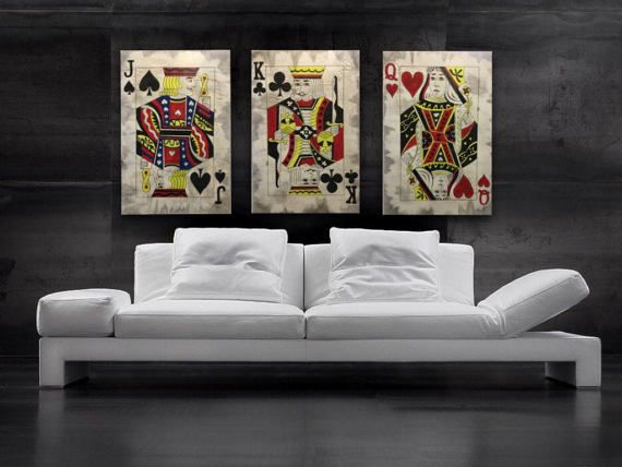 Man Cave Decor Questions : Queen of hearts painting vintage style playing pard art poker game