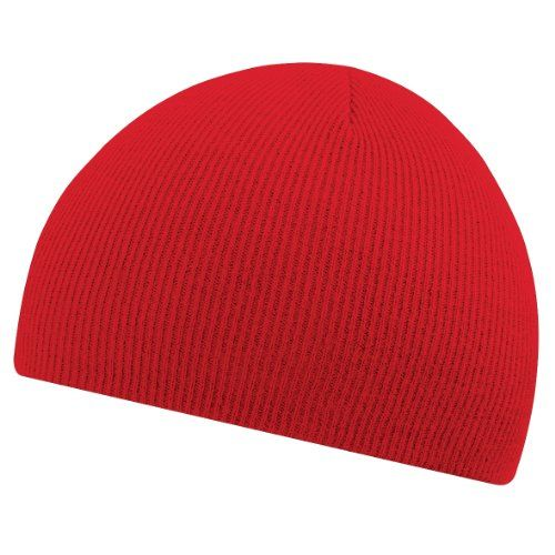 ea63ac85df01bd Beechfield Plain Basic Knitted Winter Beanie Hat (One Size) (Classic Red)  Beechfield