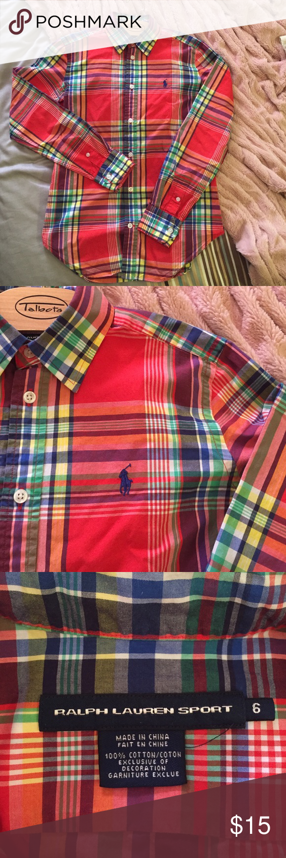Ralph Lauren woven top This shirt is easy to dress up or dress down! The material is thin and lightweight, so it is great for layering. Great condition with no flaws. Ralph Lauren Tops Button Down Shirts