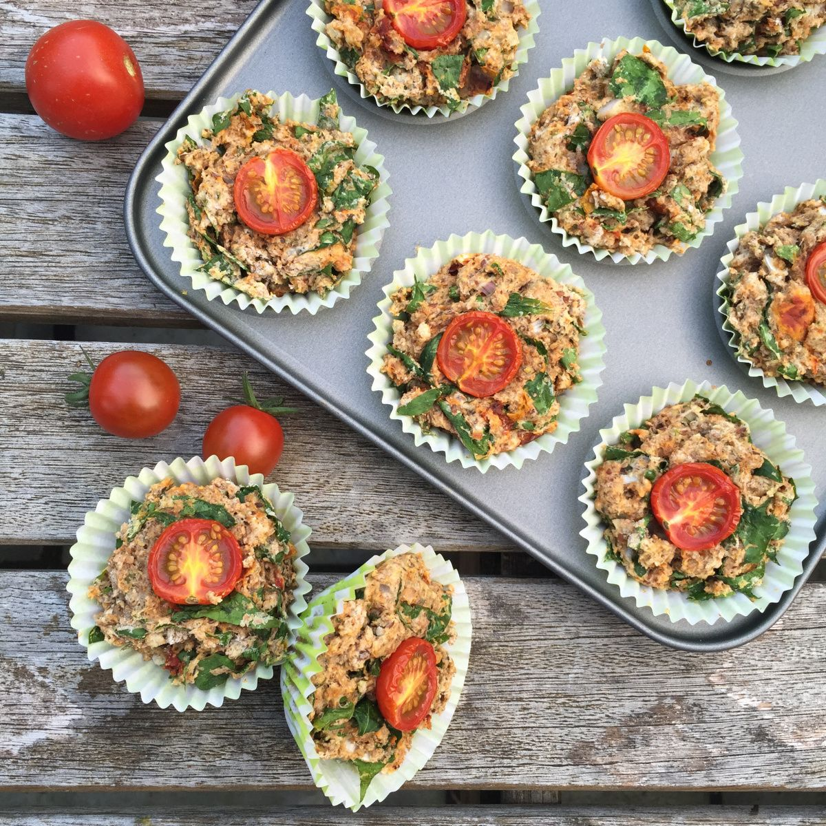Spinach and Tomato Savoury Muffins