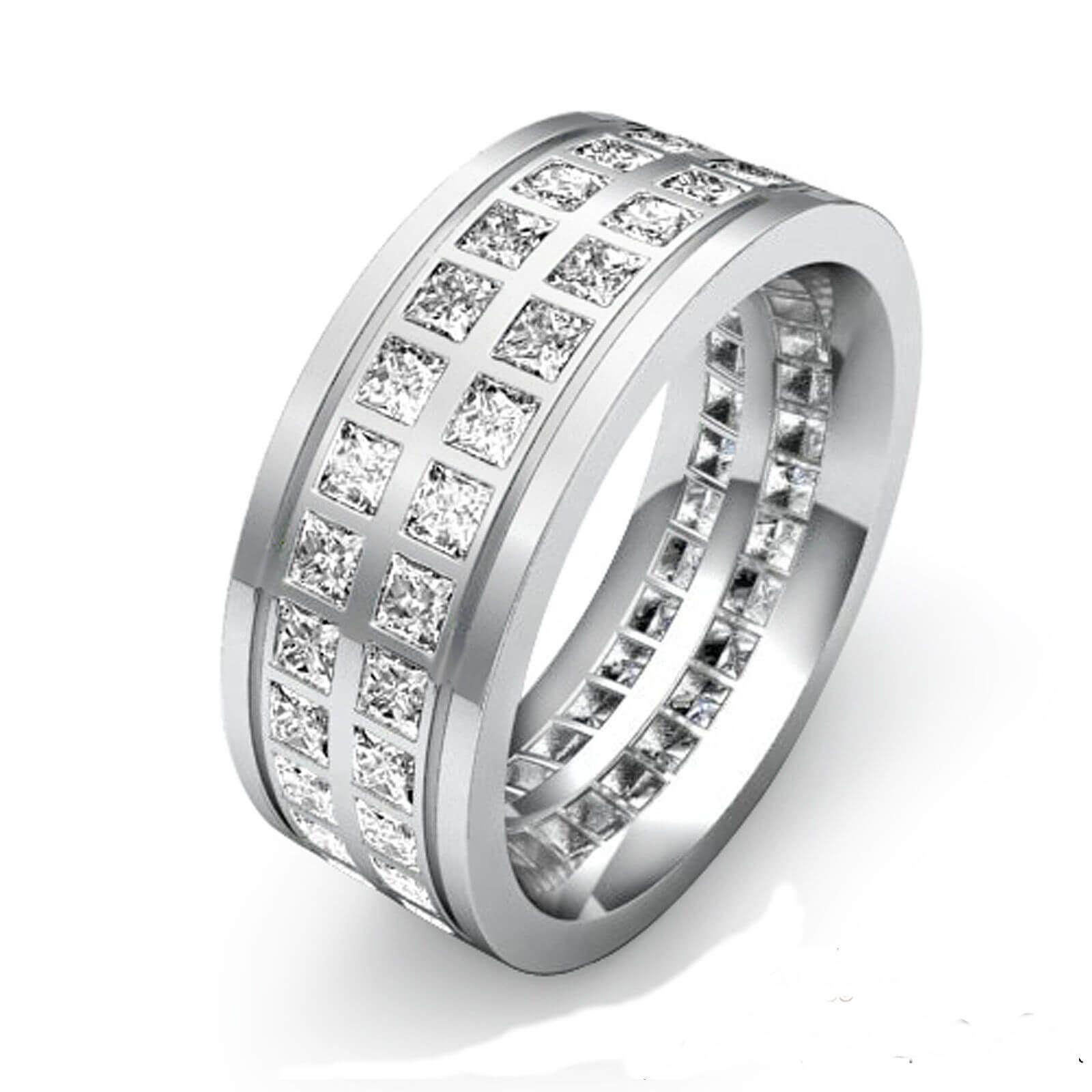 Men s 18ct white Gold 9mm 3 Carat Princess cut Diamond Wedding