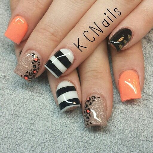 Neon Leopard Print Nails Taupe White Coral And Black Nails Hand Painted Leopard Print And Striped Nail Art Kc Leopard Print Nails Trendy Nails Autumn Nails