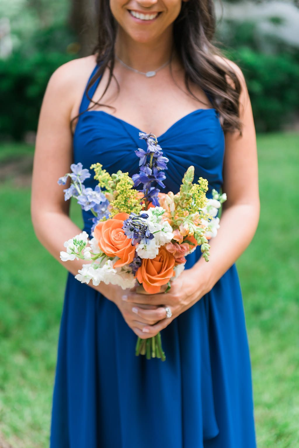 Bold blue sweetheart bridesmaid dresses with orange and blue bold blue sweetheart bridesmaid dresses with orange and blue wedding bouquet ombrellifo Gallery