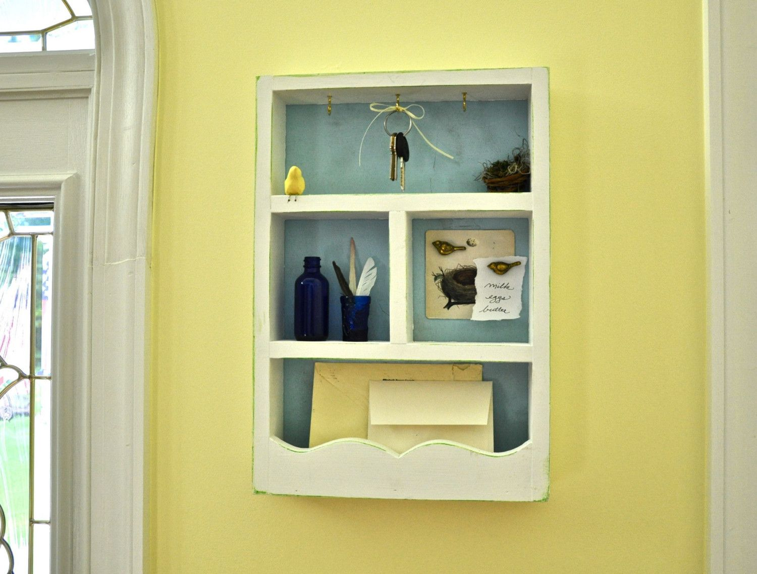 White, solid wood mail holder, wall organizer, key rack | Mail ...