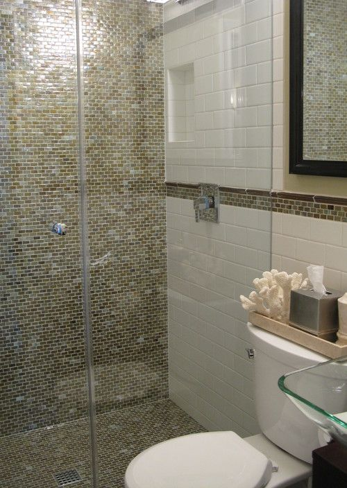 Glass Tile Bathroom Designs Pleasing Like The Wall To Floor With Gold Tone Glass Tile Bathroom Decorating Design