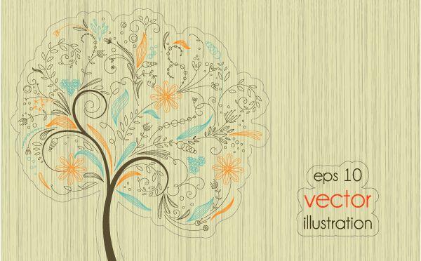 4 Arboles vectorizados con estilo creativo y abstracto - Puerto Pixel | Recursos de Diseño