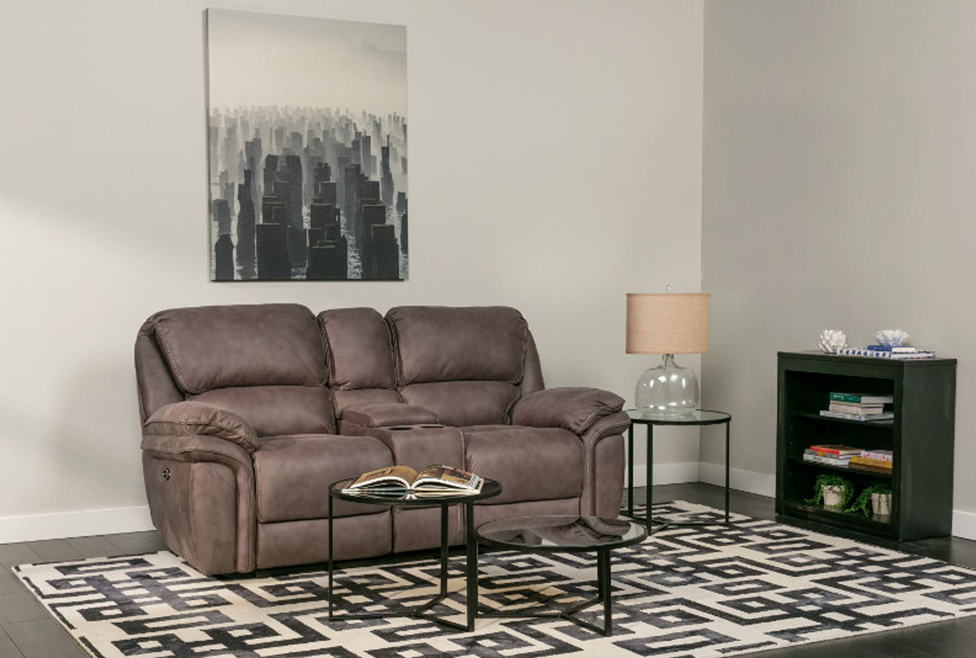 to the reclining click product ashley home mocha hogan console loveseat enlarge ash furniture classy