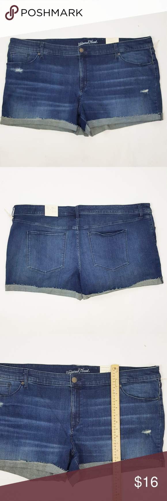 NWT Universal Thread Women/'s Plus Size Destructed Midi Jean Shorts with Stretch