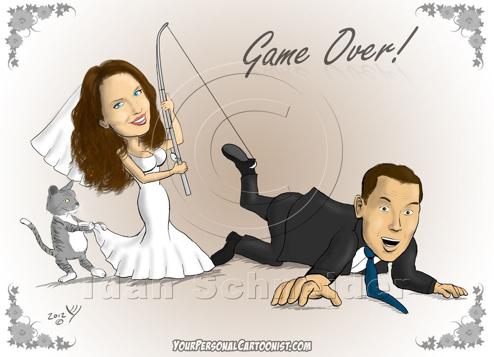 Funny Wedding Caricature Bride Groom And A Fishing Pole Wedding Humor Wedding Caricature Cartoon Wedding Invitations