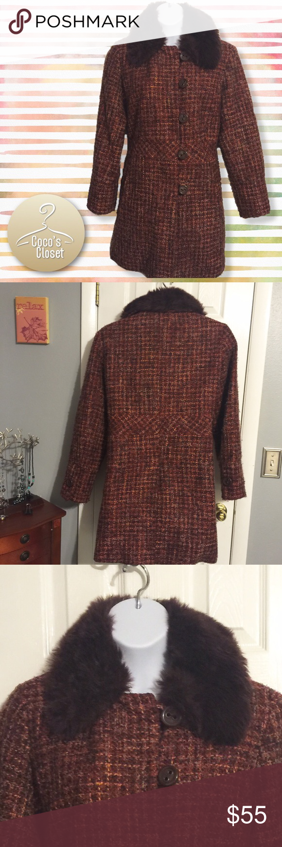 Lane Bryant orange/purple plaid coat 14/16 I love this coat, but it doesn't fit me so it must go. It has a detachable faux fur collar. It's warm and has a back vent and fitted waist. Size 14/16. Lane Bryant Jackets & Coats