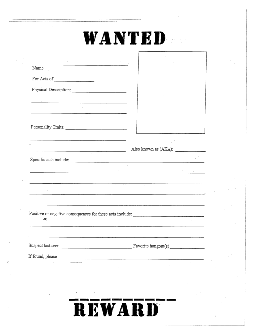 Modern Classroom Pdf : Wanted poster template fbi and old west free school