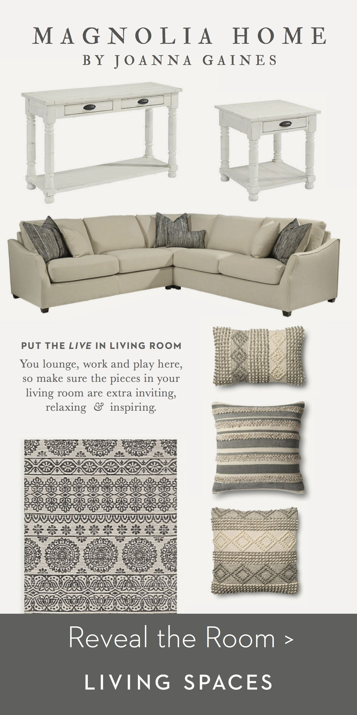 The neutral homestead sectional sofa bobbin cocktail table lotus fog beige rug come together to create a cozy relaxed living space