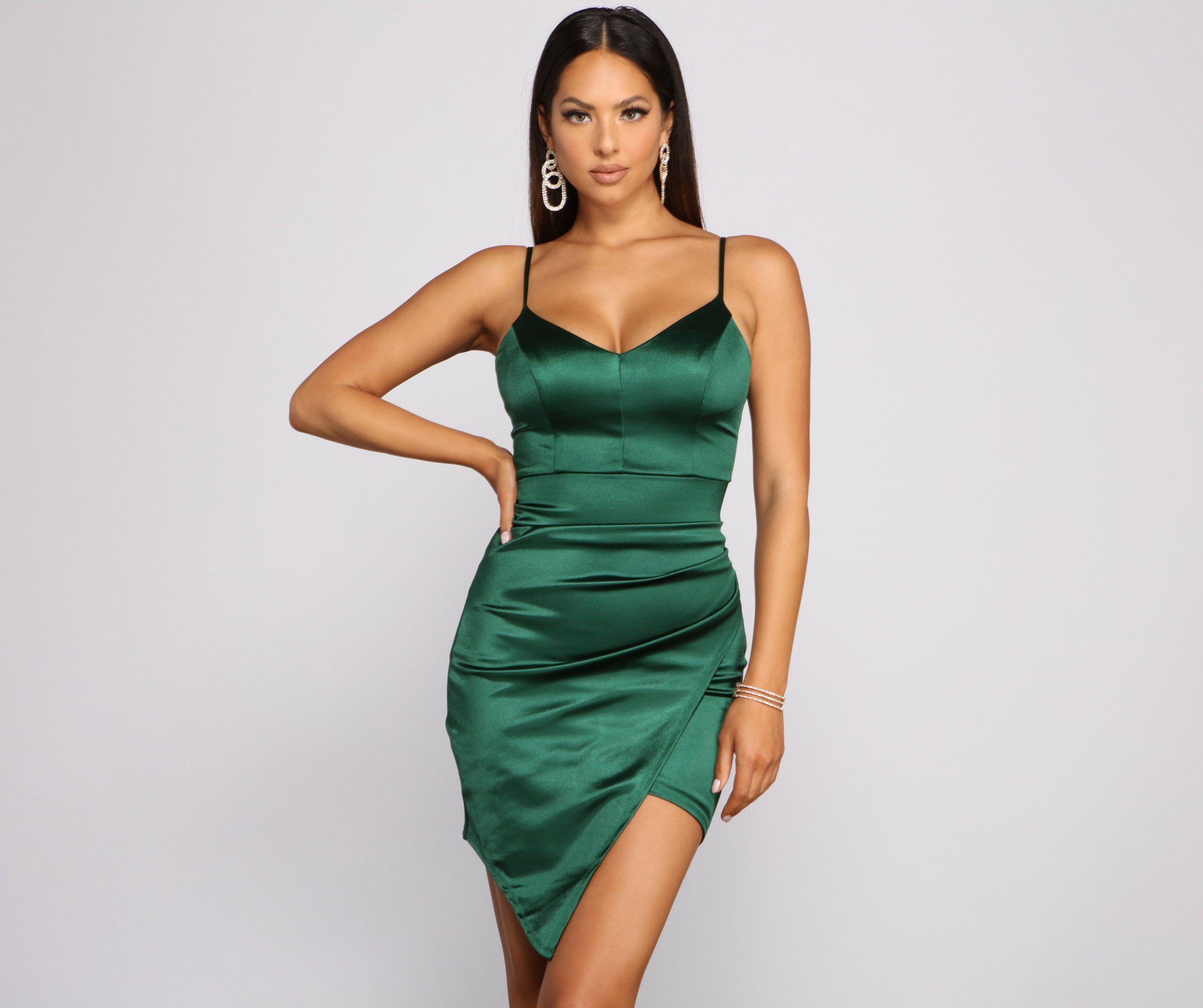So Sleek Ruched Satin Mini Dress In 2021 Green Satin Dress Mini Dress Short Green Dress [ 2145 x 2560 Pixel ]