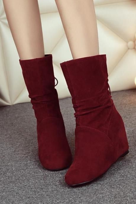 Women's Pure Color Wedge Heel With Back Lace Bowknot Boots