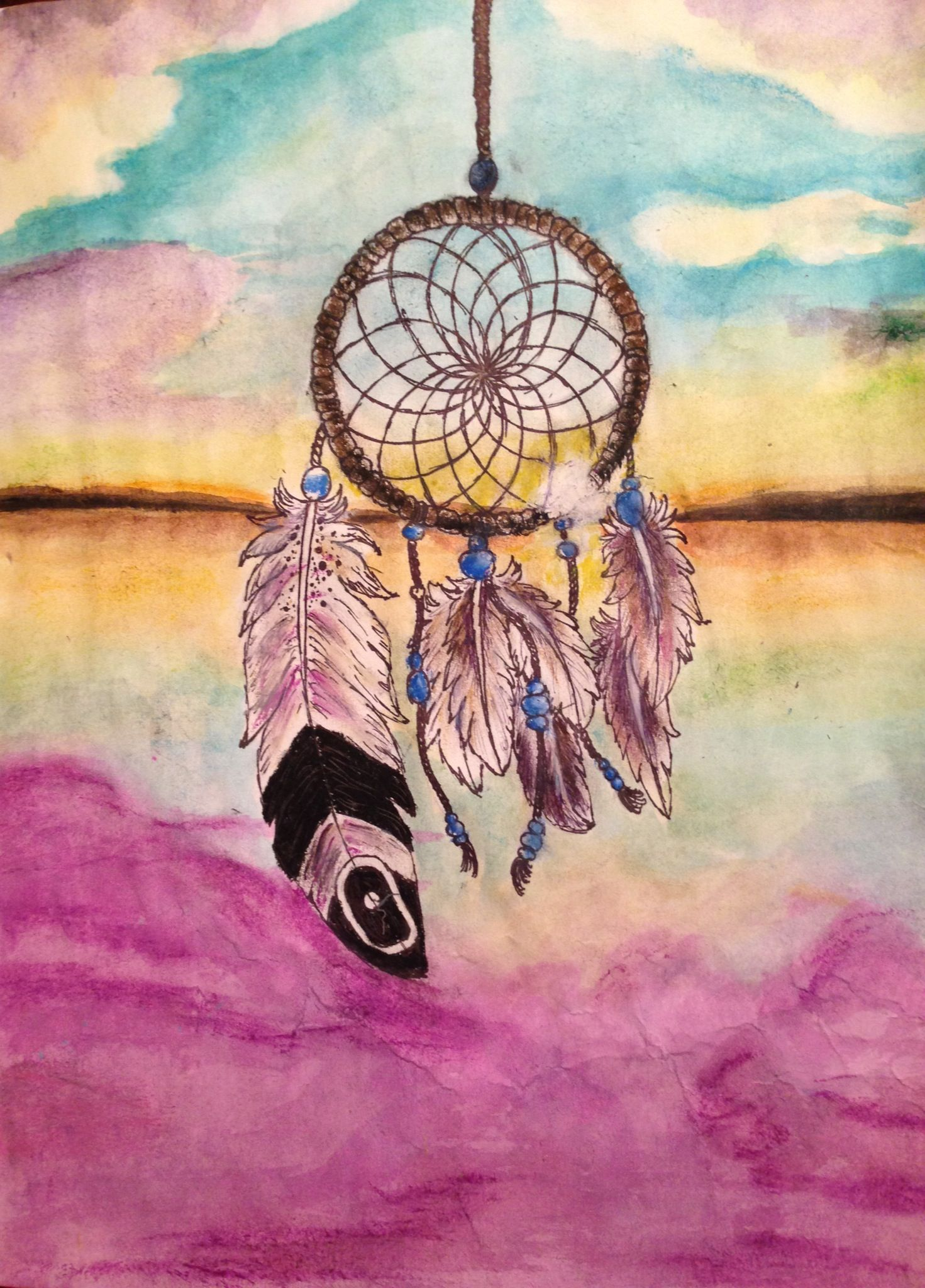 Dreamcatcher In Watercolor Oil Pastels And Sharpies Easy Canvas