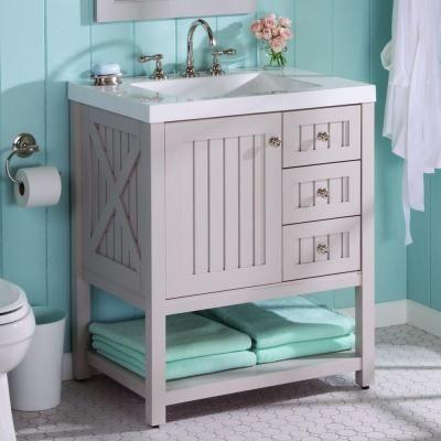 Martha Stewart Living Seal Harbor 30 In Vanity In Sharkey Gray With Vanity Top In Alpine White Sl30p2 Aqua Bathroom Beautiful Bathroom Vanity Stylish Bathroom