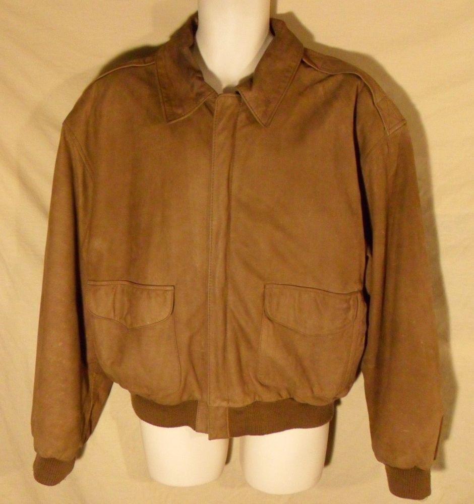 77ac10351 VINTAGE 90's WINLIT Brown Suede Leather Bomber Jacket Aviator Coat w ...