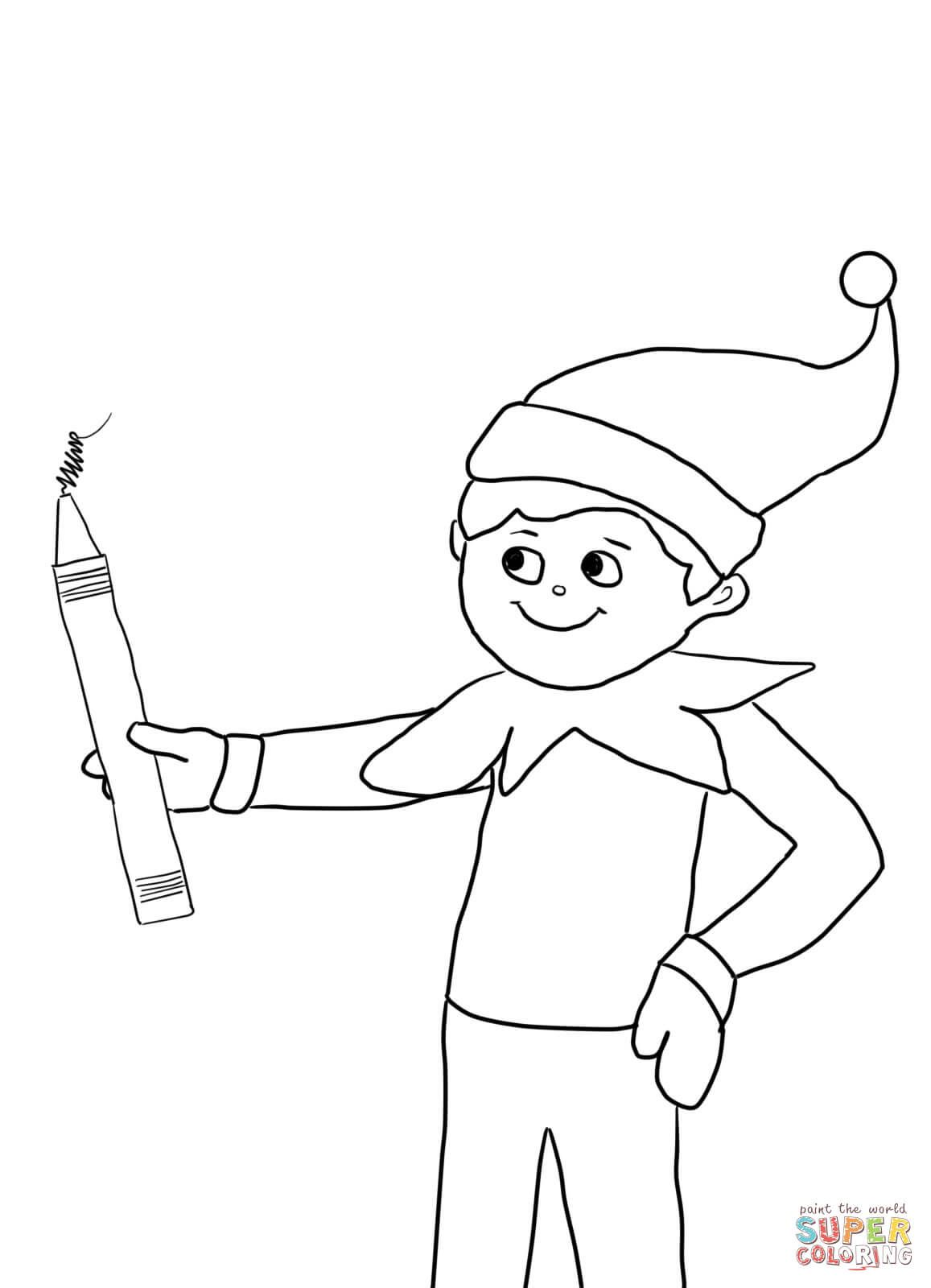 Elf on the Shelf with Pencil Super Coloring Coloring