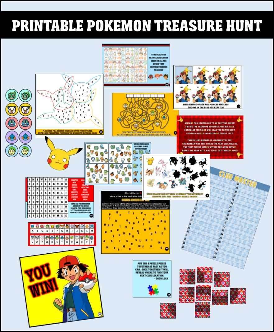 Printable Pokemon Treasure Hunt Party Game